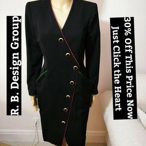 R. B. Design Group Black Asymetrical Dress Sz 6